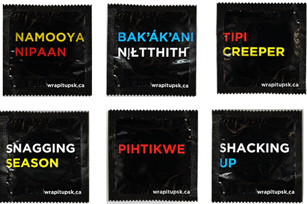 Six condoms in various First Nations languages