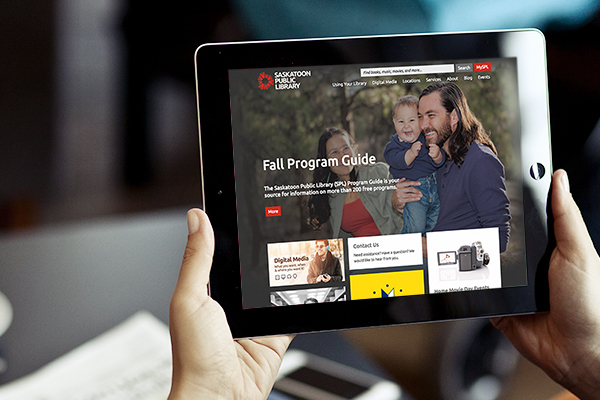 The new Library website being used on a tablet